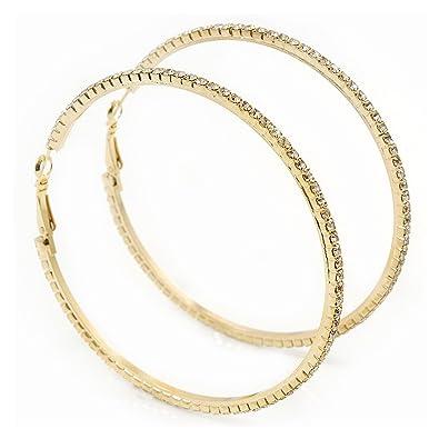 Slim Austrian Crystal Hoop Earrings In Gold Plating 7cm D
