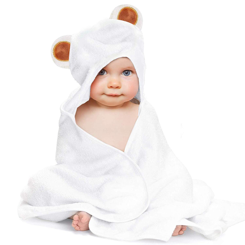 LATTCURE Toalla de Baño Bebé con Capucha de Fibra de Bambú 90x90cm 500GSM Ducha Albornoz Infantil