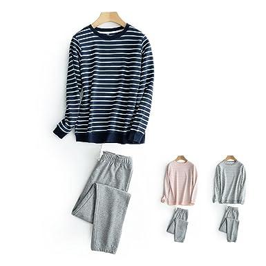 HaloVa Mens Pajamas, Striped Couple Sleepwear Set, Autumn Winter Cotton Long Sleeves Fleece Sweatshirt