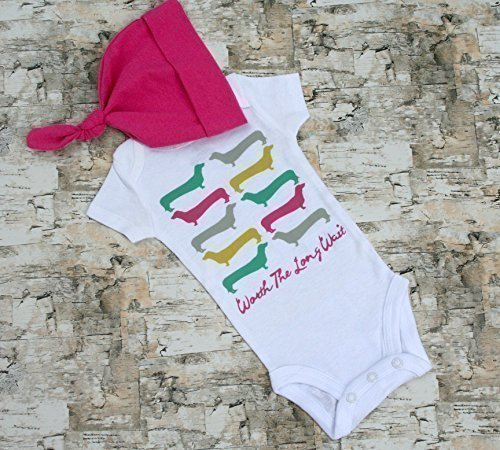 Baby Take Home Outfit - Baby Onesie - Dachshund Clothes - Baby Hat - Worth the Wait - Newborn Baby Outfit - Dachshund Baby
