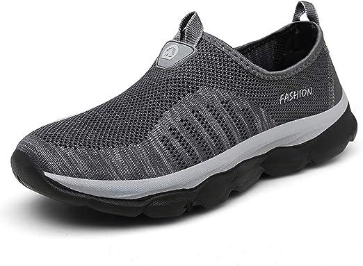 QINGMM Zapatos De Los Hombres del Holgazán De Senderismo, Top del Punto Bajo De Peso Ligero Zapatillas De Deporte, Senderos De Trekking con Mochila, Zapatos De Secado Rápido,Gris,45 EU: Amazon.es: Hogar