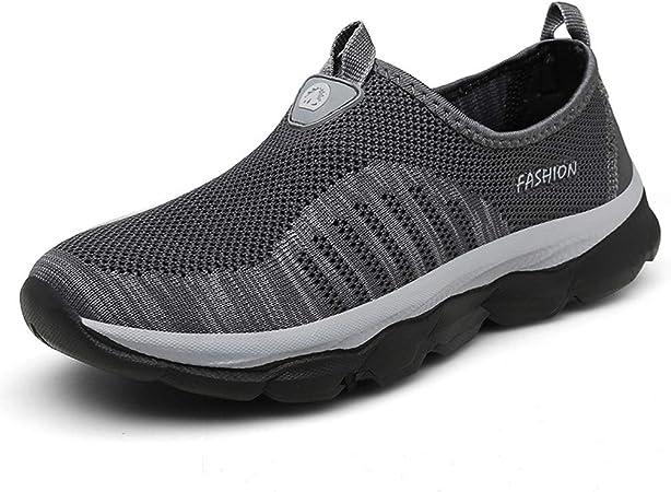 QINGMM Zapatos De Los Hombres del Holgazán De Senderismo, Top del Punto Bajo De Peso Ligero Zapatillas De Deporte, Senderos De Trekking con Mochila, Zapatos De Secado Rápido,Gris,44 EU: Amazon.es: Hogar
