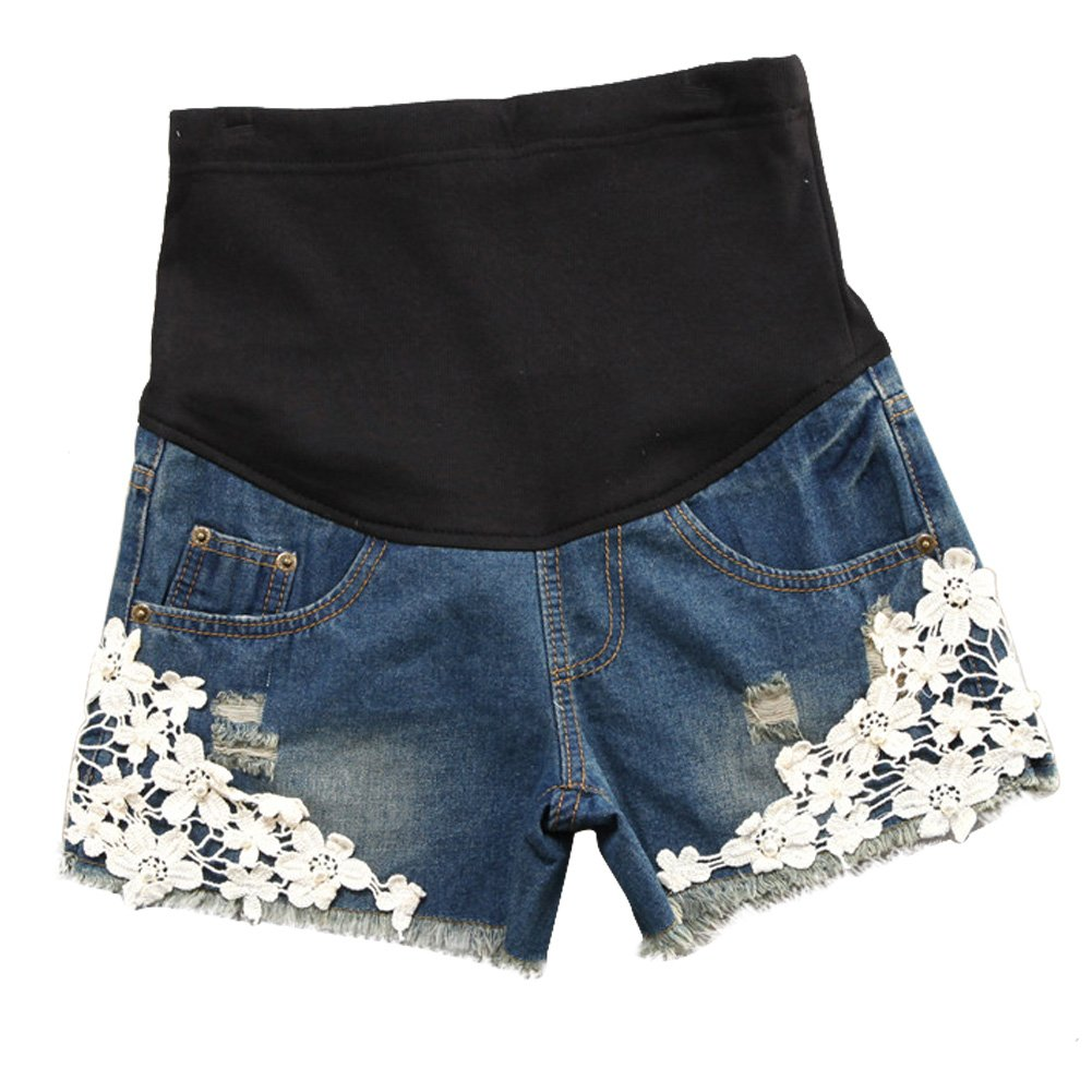 Deylaying New Women Casual Maternity Waistband Care Belly Jeans Shorts Lace Trim Blue