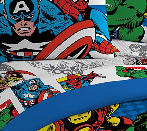 Jay Franco Marvel Avengers Comics Good Guys 4 Piece Full Sheet Set - Features Captain America, Hulk, Iron Man, Spiderman, and Thor - Fade Resistant Polyester Microfiber Fill (Official Marvel Product) by Jay Franco (Image #3)