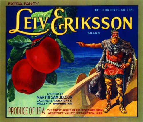 (A SLICE IN TIME Cashmere Washington Leiv Eriksson Apple Fruit Crate Box Label Art Print)