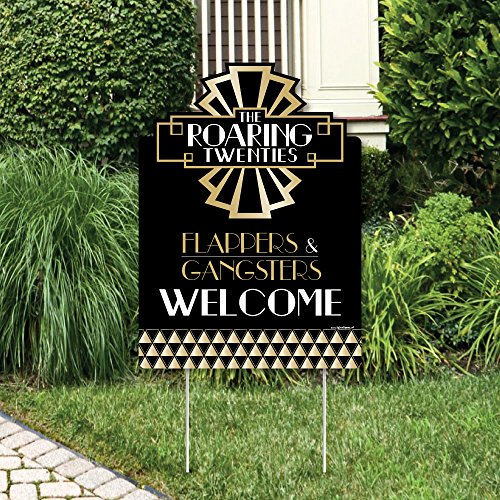Roaring 20's - Party Decorations - 1920s Art Deco Jazz Party Welcome Yard Sign - Roaring 20 Party Decorations