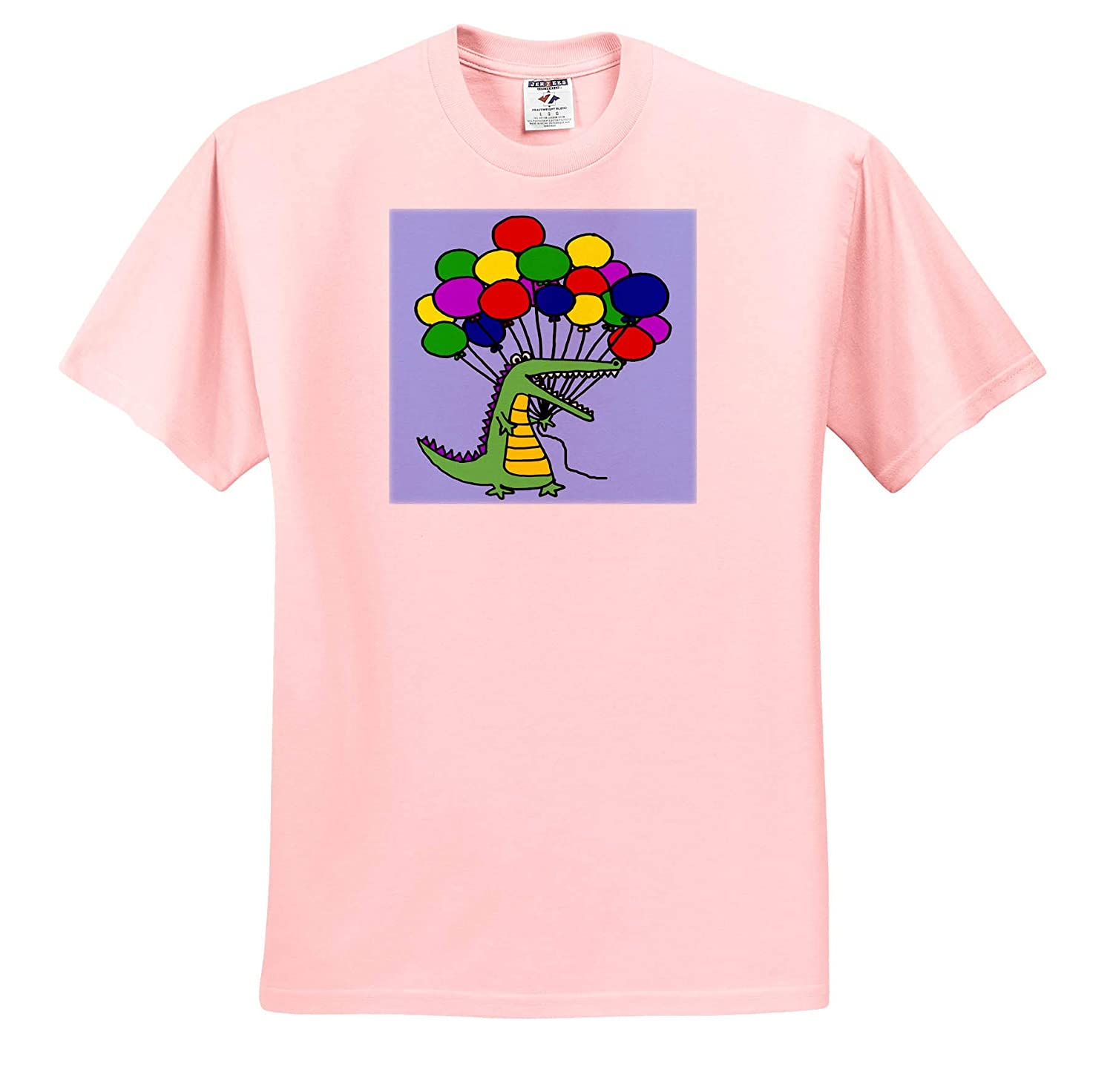 ts/_311663 3dRose All Smiles Art Adult T-Shirt XL Funny Cute Alligator or Crocodile Holding Colorful Balloons Animals