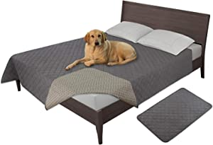Easy-Going 100% Waterproof Dog Bed Cover Washable Couch Cover Non-Slip Sofa Cover Furniture Protector Cover Reusable Incontinence Bed Underpads for Pets Kids Children Dog Cat(86x82 in,Gray)