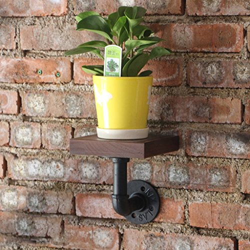 Lil Multi-Function Wall Shelf/Retro Industrial Wind Pipe Wall/Living Room Solid Wood Decorative Frame/Flower Stand (Color : 1 only) by Rack Shelf (Image #1)