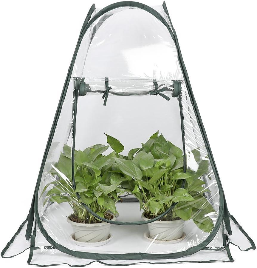 Lulalula Mini invernadero Pop Up Grow House, PVC interior exterior patio invernadero cubierta pequeña portátil jardinería planta cubierta de jardín flor refugio – 27,5