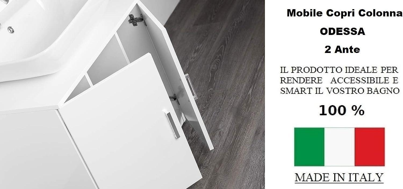 Mobile Bagno sotto lavabo Copri Colonna lavandino Universale Bianco Effetto Lucido IdeaStella Odessa Sottocolonna 2 Ante