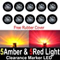 "10 Pcs TMH 3/4"" Inch Surface Mount Smoked Lens 5 Amber & 5 Red LED Clearance Markers Bullet Marker lights, side marker lights, led marker lights, led trailer marker lights"