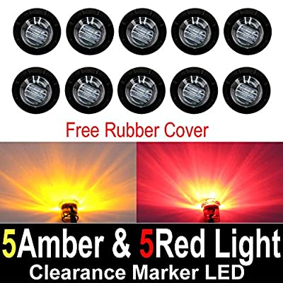 """10 Pcs TMH 3/4"""" Inch Surface Mount Smoked Lens 5 Amber & 5 Red LED Clearance Markers Bullet Marker lights, side marker lights, led marker lights, led trailer marker lights"""