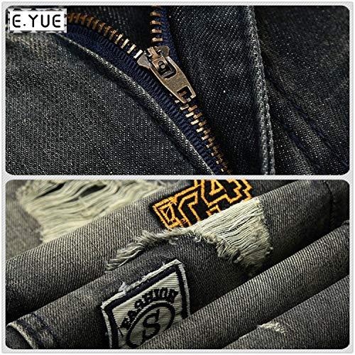 Da Ampi Jeans Saoye Pantaloni Casual Uomo Nero Strappati Jeans Fashion Retrò Giovane wTIq4OT
