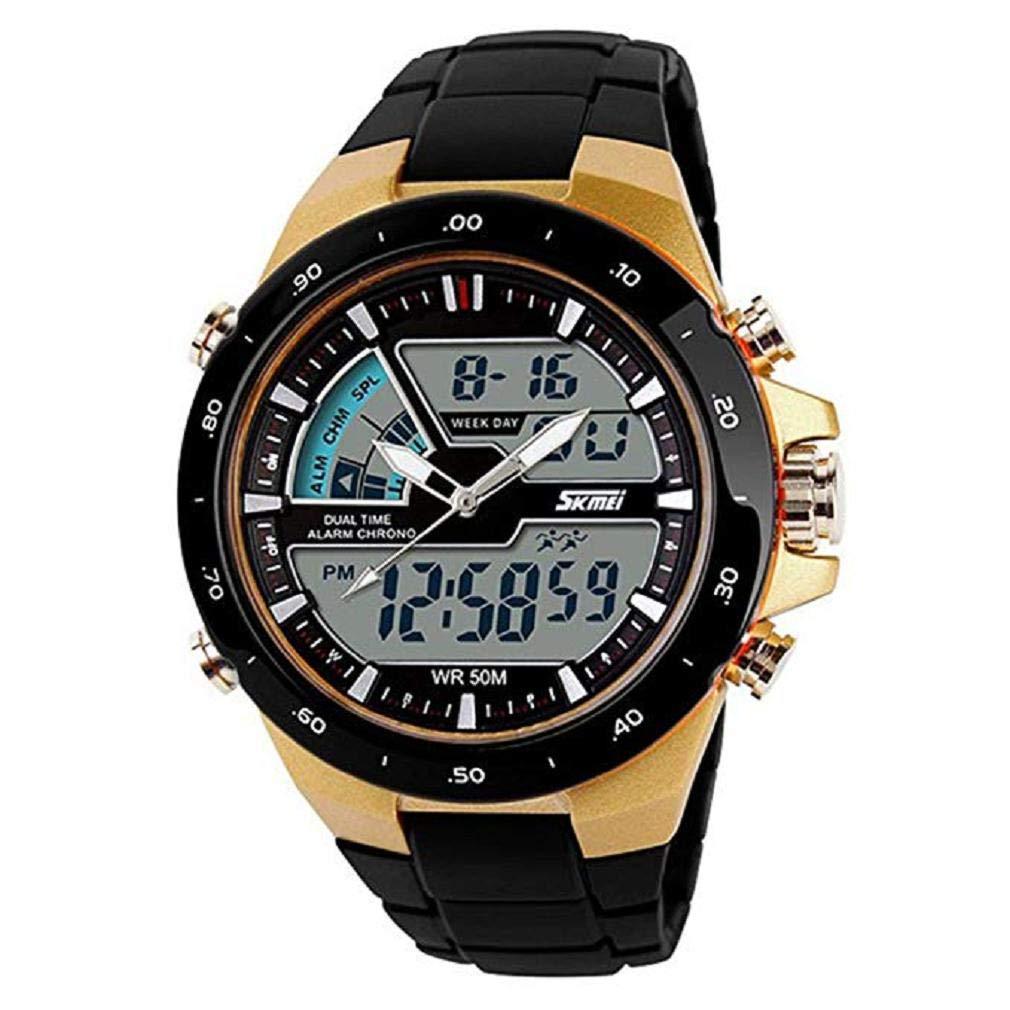 Scpink Reloj Deportivo analógico para Hombre Reloj Militar de Cuarzo para muñeca Reloj Digital Grande para Esfera Doble, Relojes para Hombres a la Venta ...