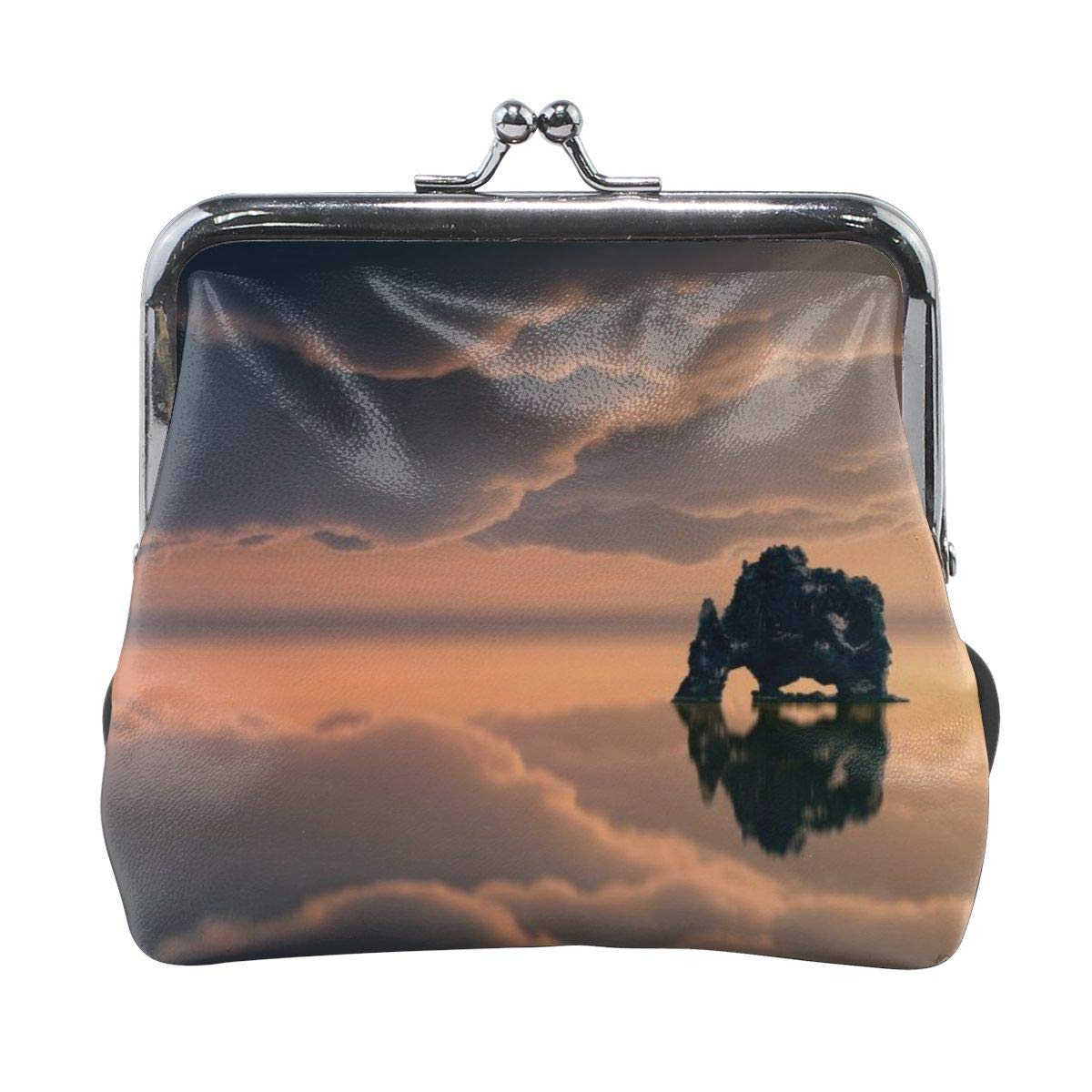 Poream Most Beautiful Waterscapes Wallpaper Personalized Retro Leather Cute Classic Floral Coin Purse Clutch Pouch Wallet For Girls And Womens