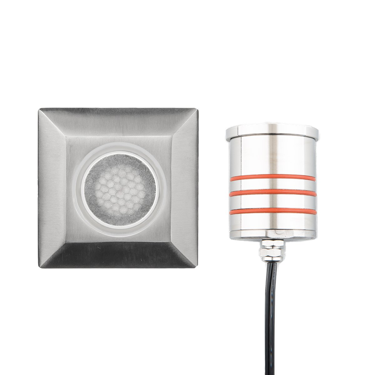 WAC Lighting 2052-30SS WAC 2'' Inground LED 12V Square Indicator Light with Honeycomb Louver in Stainless Steel,