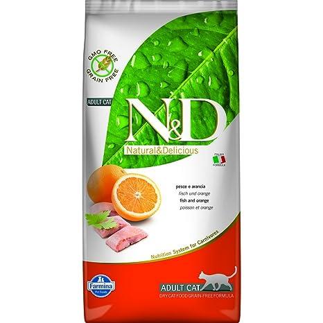 FARMINA – N&D, sin Cereales, alimento para Gatos, con Pescado y Naranja,