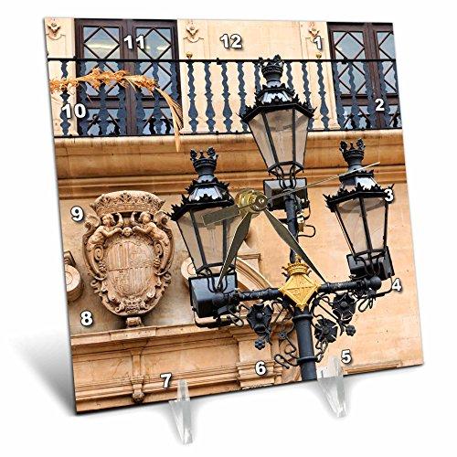 3dRose Danita Delimont - Lamps - Spain, Balearic Islands, Mallorca, street scenes, street lamp post. - 6x6 Desk Clock (dc_277907_1) by 3dRose