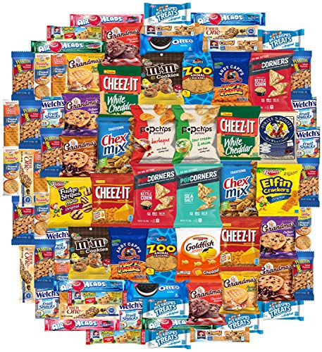 Cookies Chips & Candy Snacks Assortment Bulk Sampler by Variety Fun (Care Package 80 Count) (Chocolate Custom Wrapped)