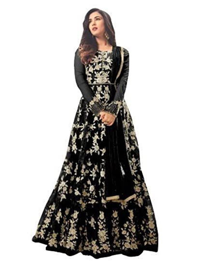 7bc57739b571 Royal Export Women s A-line Long Semi-Stitched Salwar Suit  (Black-Maisha-Suit Black Free)  Amazon.in  Clothing   Accessories