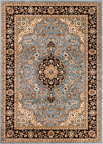 Cheap Noble Medallion Light Blue Persian Floral Oriental Formal Traditional Area Rug 9×13 ( 9'3″ x 12'6″ ) Easy to Clean Stain Fade Resistant Shed Free Modern Contemporary Soft Living Dining Room Rug