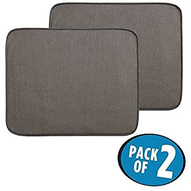 mDesign Kitchen Countertop Absorbent Dish Drying Mat - Pack of 2, 18  x 16 , Mocha/Ivory