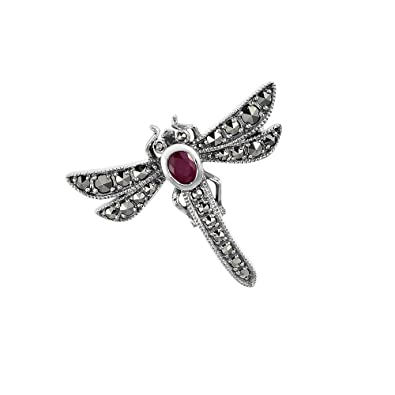 Esse Marcasite Sterling Silver Butterfly Brooch With Marcasite and Ruby LH7EqdD