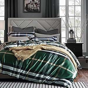 Amazon Com Luxe Plaid Print Duvet Quilt Cover 100 Percent