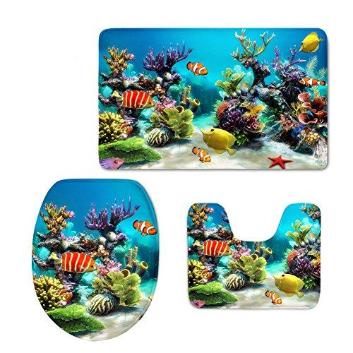 HUGSIDEA Tropical Fish Print Soft Thicken Bath Rug Set with Rug/ Contour /Lid Cover (3 Piece) (Durable Tropical Rug)