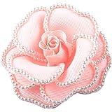 コサージュ フォーマル コサージュピン パールビーズで縁取りしたバラの形 ドレス 花 フラワー ベージュ ピンク