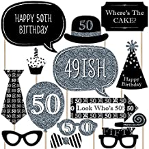 Adult 50th Birthday Party - Silver - Photo Booth Props Kit - 20 Count