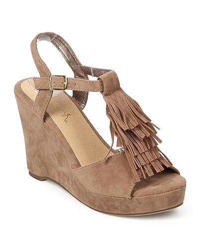 9f4e1bf28e Betani Women Suede Peep Toe Fringe T-Strap Wedge Sandal EJ31 - Stone (Size