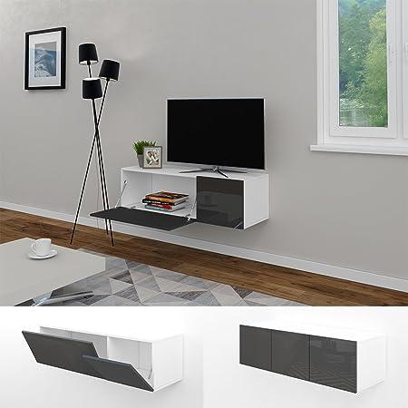 Wohnwand schwebend  TV Lowboard 120cm Anthrazit Hochglanz Sideboard Wandschrank ...