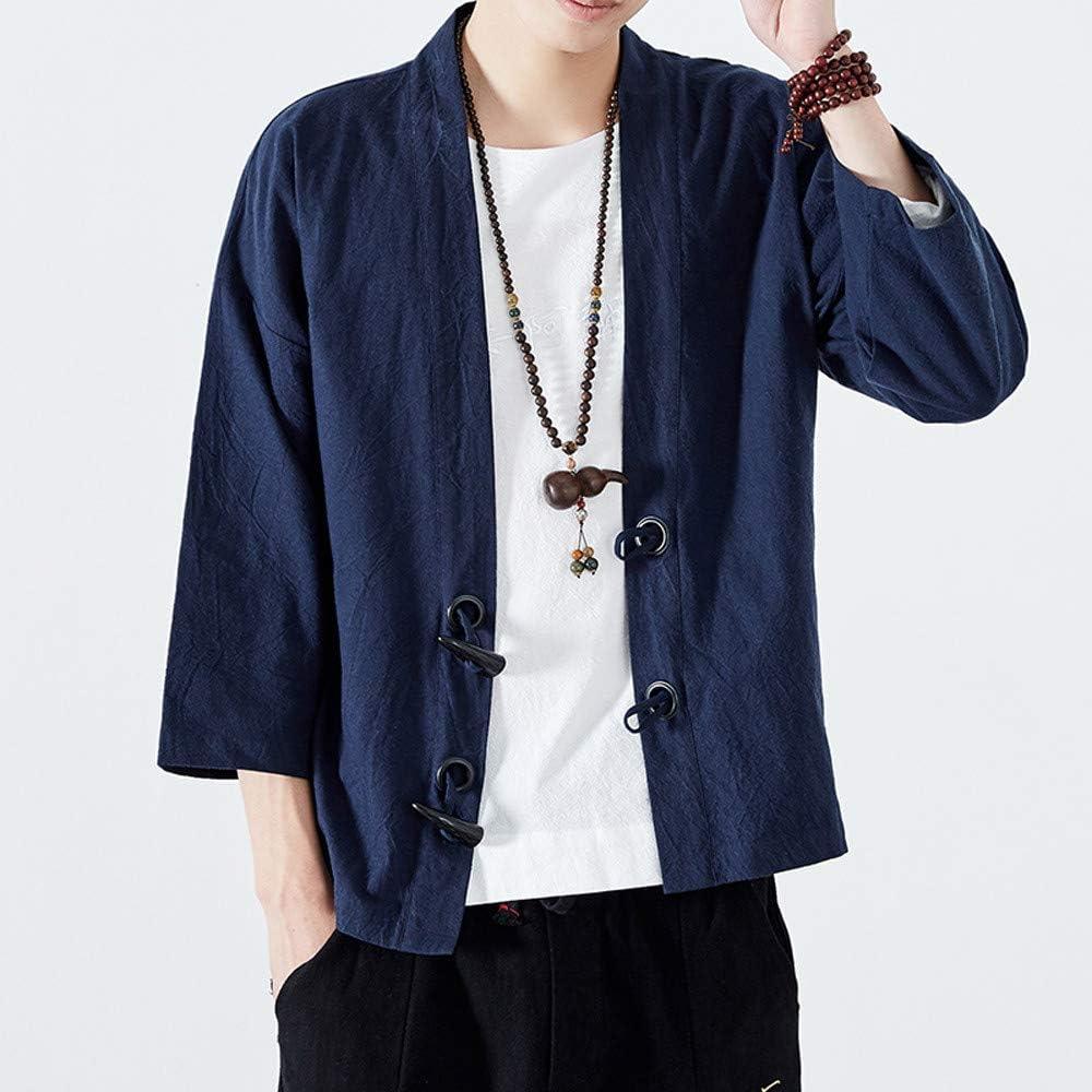 Timogee Herren Jacke Japanischer Yukata Mantel Kimono Outwear Baumwolle Vintage Japanisch Stil Kran Drucken Mantel Robe Yukata