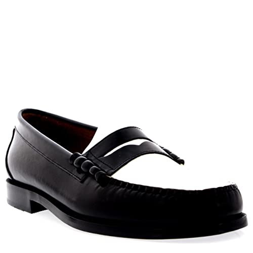 a8f0820bd2 G.H. Bass Weejuns Larson Penny Loafers Black   White Leather  Amazon ...