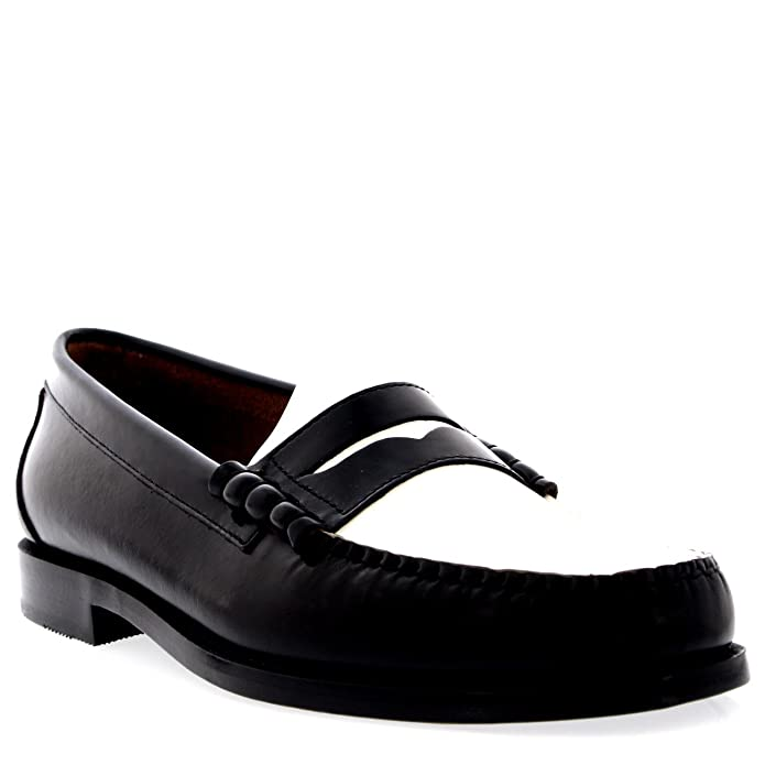 1950s Men's Clothing G.H. Bass Weejuns Larson Penny Loafers Black & White Leather £135.00 AT vintagedancer.com