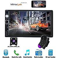 17,8 cm Double Din Voiture Stéréo Audio Bluetooth Touch MP5 Lecteur USB FM Téléphone Android Miroir Lien Divertissement Multimédia Radio + 4 LED Mini caméra de recul avec volant Télécommande
