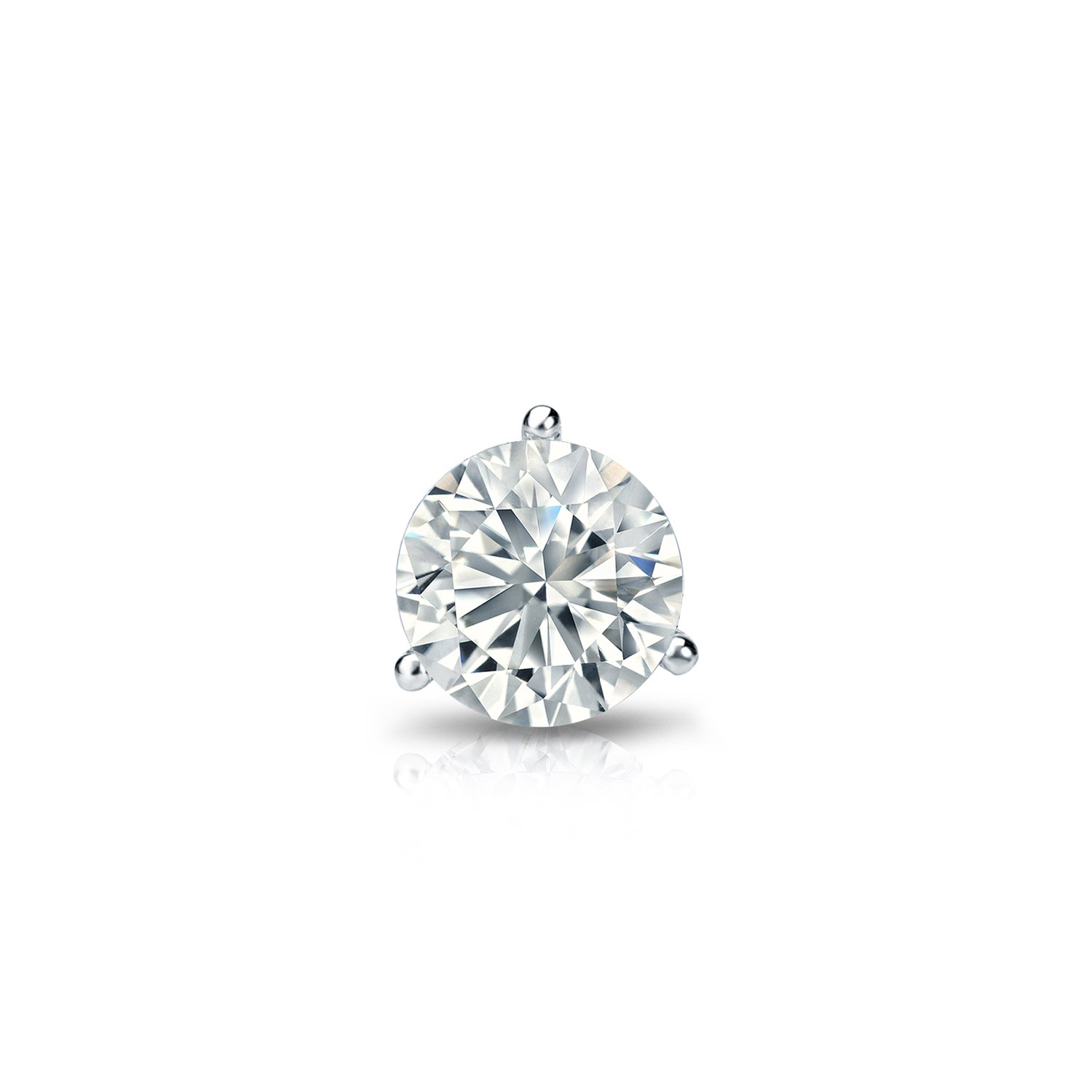 14k White Gold Round Diamond Simulant CZ SINGLE STUD Earring 3-Prong(1/3cttw,Excellent Quality)
