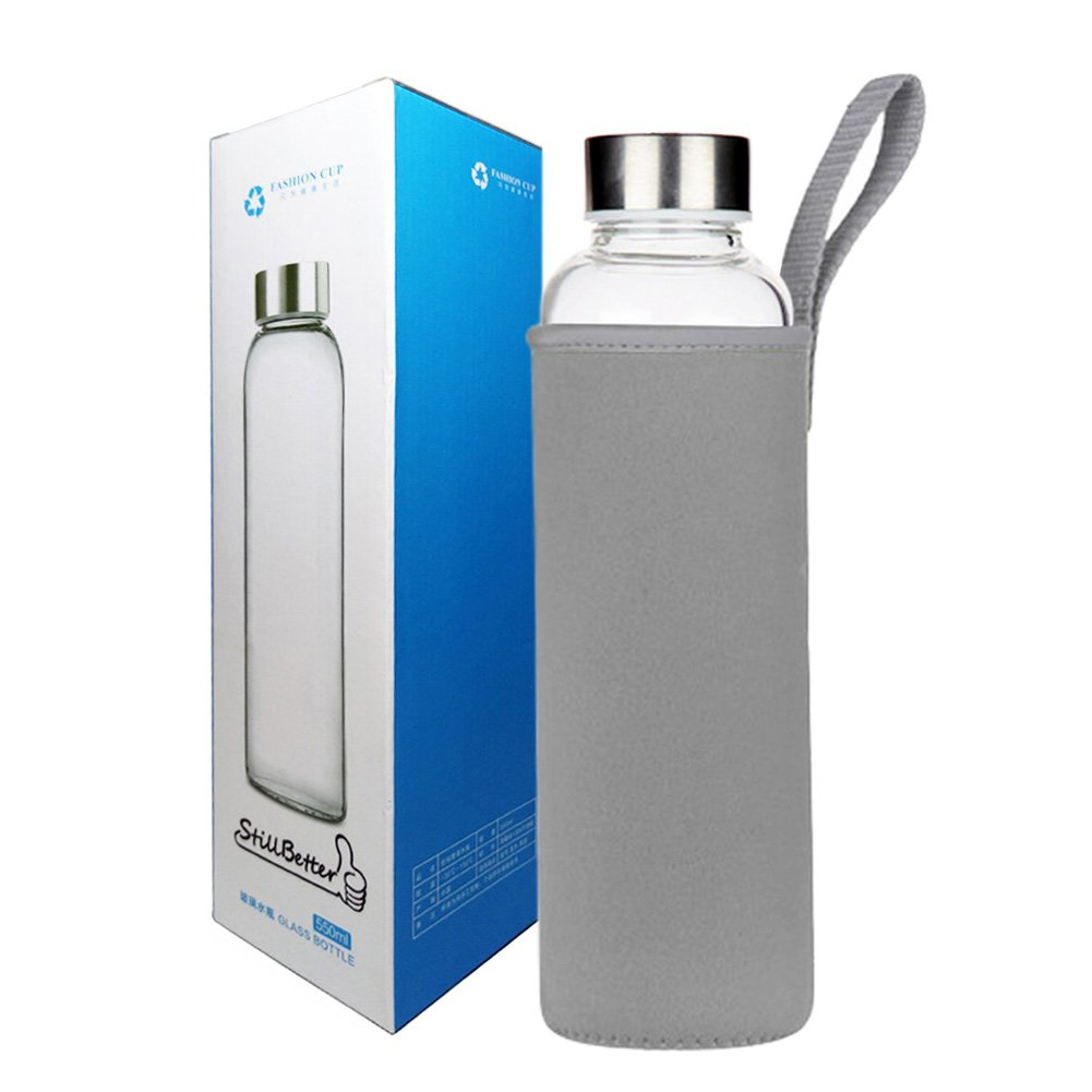 Glass Water Bottle 2 Pack Deluxe Set 18oz for Juicing or Beverage Storage - Included Stainless Steel Lids and Nylon Sleeve for Travel and Gym Use