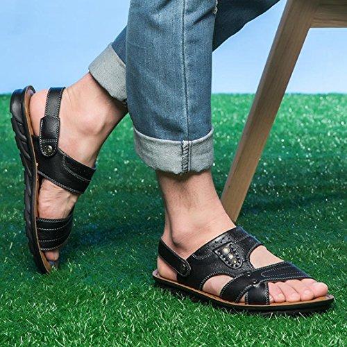 Tda Herenmode Comfort Zomer Lederen Antislip Sand Beach Sandalen Zwart