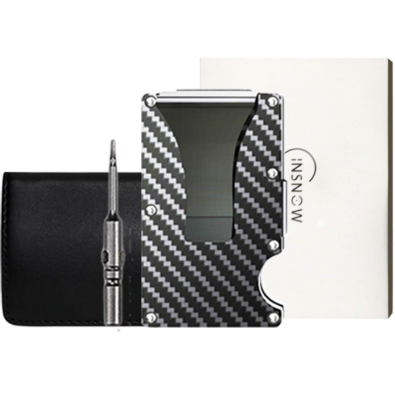 Carbon Fiber Wallet + Business Card Case Gift Set - RFID Blocking Slim Money Clip and Business Card Holder - Minimalist Credit Card Holder Organizer Protector Front Pocket Metal Money Clip for Men Price: $18.99