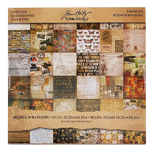 Collage Mini Paper Stash by Tim Holtz Idea-ology, 36 Sheets, Double-Sided Cardstock, 8 x 8 Inches, Multicolored, TH93054