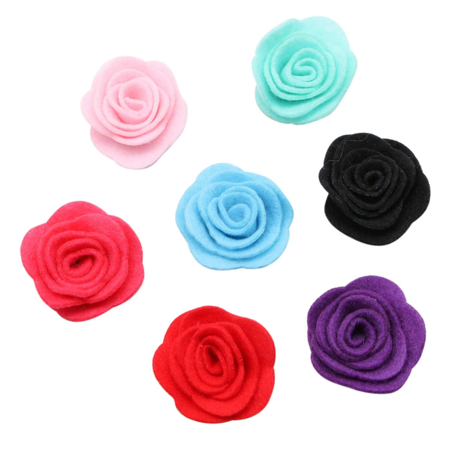 JETEHO 25 Pack Mixed Color Felt Rose Flowers Appliques Embellishments Ornaments for Crafts Sewing Hair Accessories