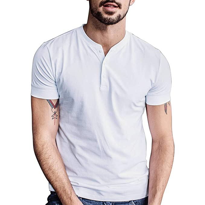 aad4f202987d Men Casual T Shirt Short Sleeve Cotton Summer Slim Fit Henley V-Neck Button  Day