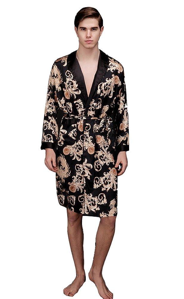 d22e5f3ab4 LIVEINU Men Satin Pajamas Nightgown Robe Bathrobe One Piece: Amazon.ca:  Clothing & Accessories