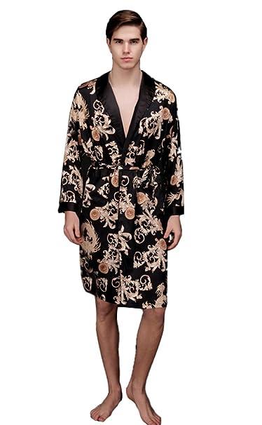 5598f15a7f LIVEINU Men Satin Pajamas Nightgown Robe Bathrobe One Piece: Amazon ...
