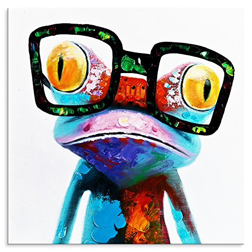 BPAGO Animal painting abstract modern wall art for living room Frog with Big Glasses Stretched and Framed Ready to Hang for Living Room -(24x24inchx1pcs)