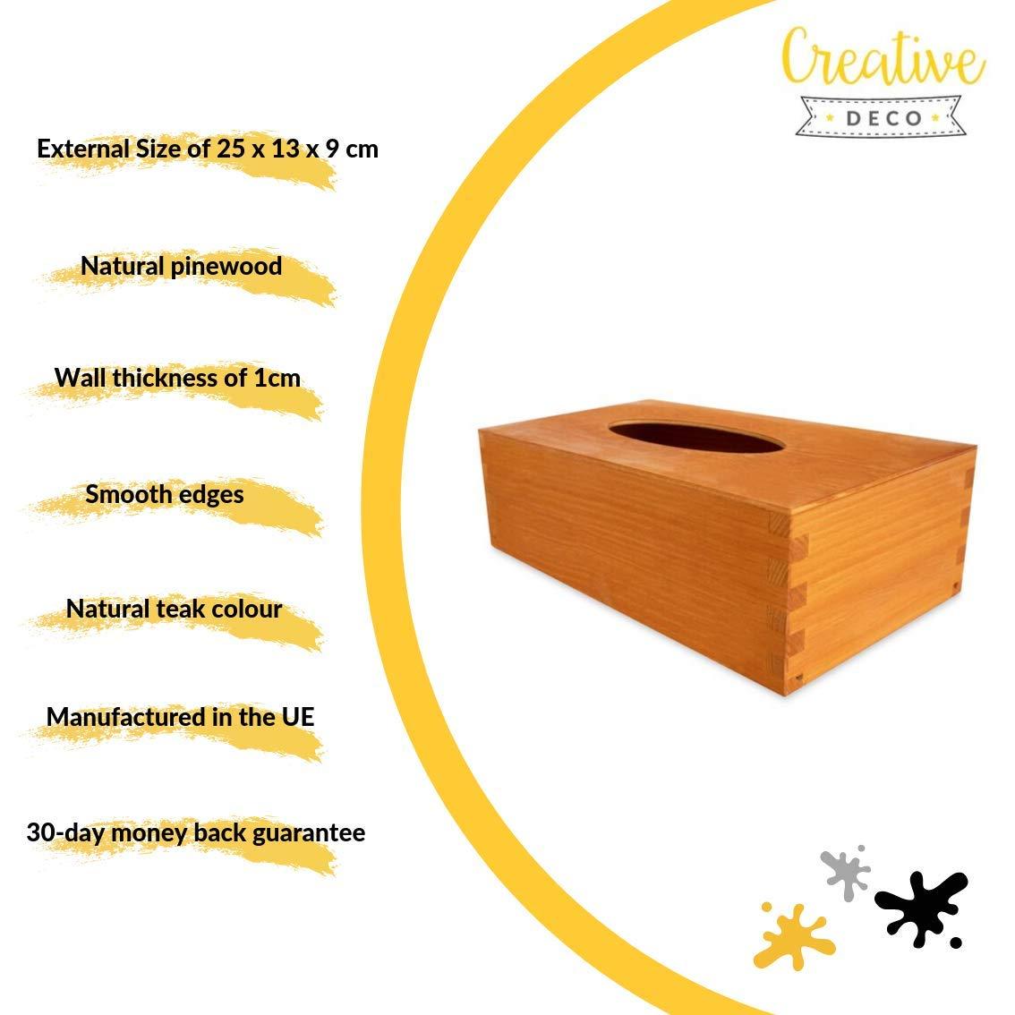 Creative Deco Quadratische Kosmetikt/ücher-Box aus Kiefern-Holz| 13 x 14,5 x 14 cm Perfekte Kosmetiktuch-Spender f/ür Decoupage Ideale Taschentuch-Box f/ür Taschent/ücher Dekoration und Lagerung