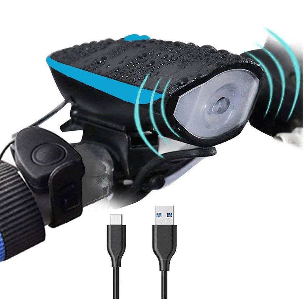 DFRgj Bike Light Set USB Rechargeable Bicycle Light Front Light, Tail Light Sports LED Bicycle Light Multi-Function Light Mountain Drive Riding Safety Flashlight (Color : Blue) by DFRgj